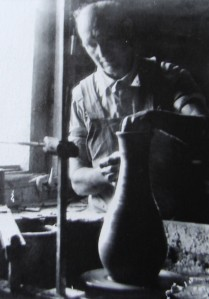 Shuford Daniel Hilton, Bill Hendley's great-uncle, is seen throwing a pot at the old Hilton Pottery in Pleasant Gardens in this photo from the NC Office of Archives and History.