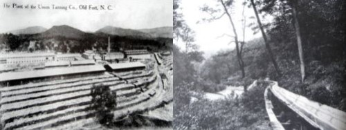 The tannery shortly after it opened in 1905, and the flume line that brought logs down from the Curtis Creek area.