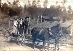 Donald Anderson's grandfather takes the family for a wagon ride in 1915. The farm was on land inundated by the construction of Lake James a few years later.